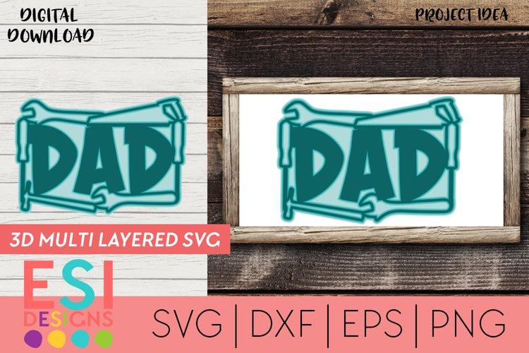Fathers Day SVG -Dad Title - 3D Multilayered Design