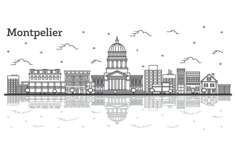 Outline Montpelier Vermont City Skyline with Modern Building example image 1
