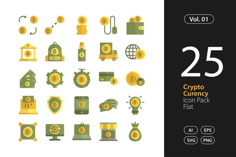 Cryptocurrency Icon Flat SVG, EPS, PNG