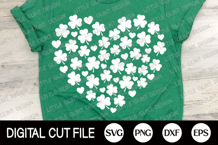 St Patricks Day 2021 Svg, Shamrock Svg, Heart Clover Dxf