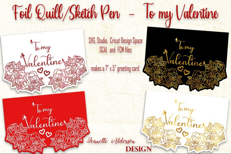 single line foil To my Valentine cutting foil greeting card