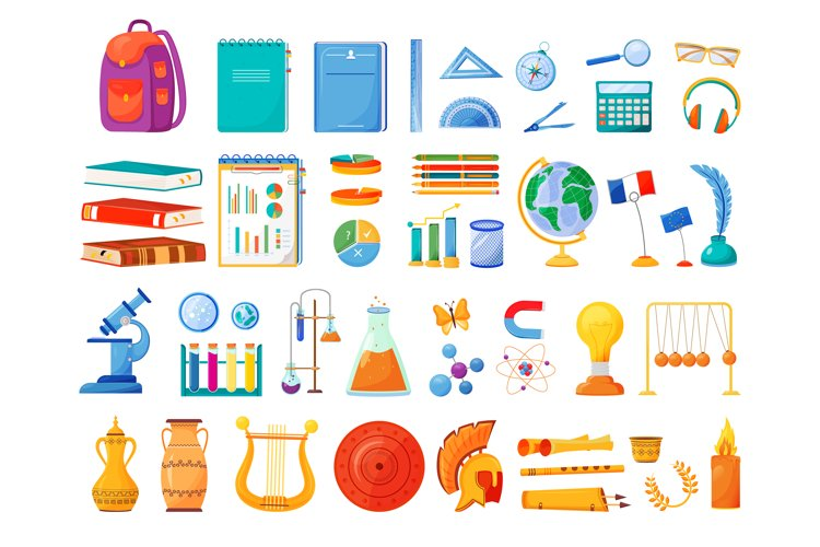 School subjects and supplies flat color vector objects set example