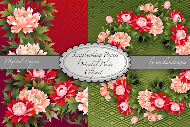 Oriental Peony Digital Paper and Clipart