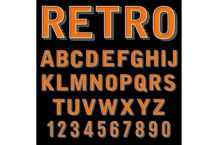 Vintage 3 dimensional typeset, retro font, vector letters an