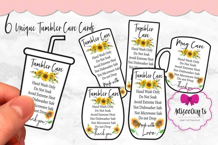 Sunflower Tumbler Care Card Printable, Washing Instructions