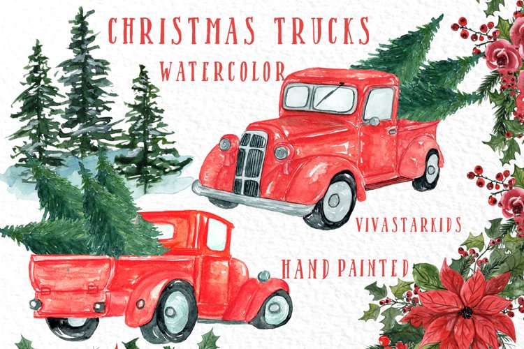 Christmas Truck clipart, CHRISTMS TREES,Watercolor Christmas example image 1