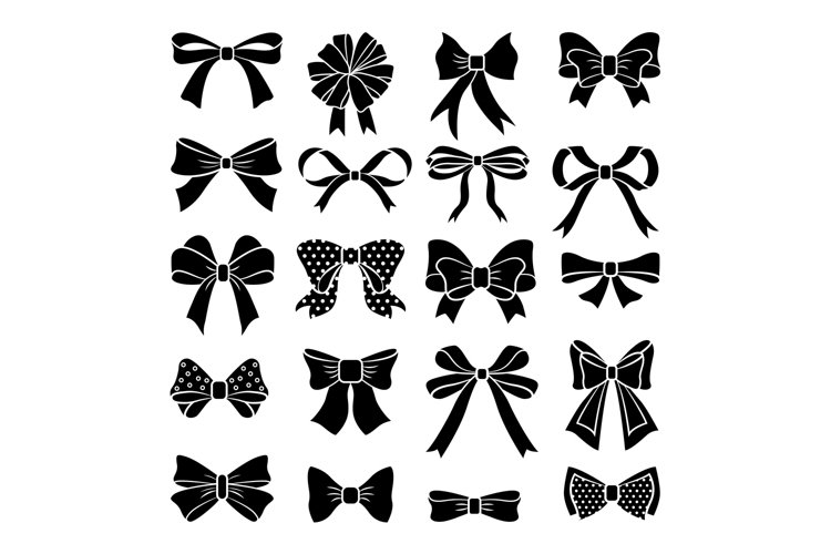 Monochrome vector bows and ribbons set. Holiday illustration example image 1