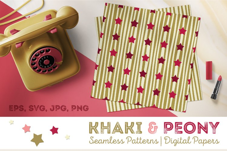 Khaki & Peony Patterns | Seamless Digital Papers example image 1