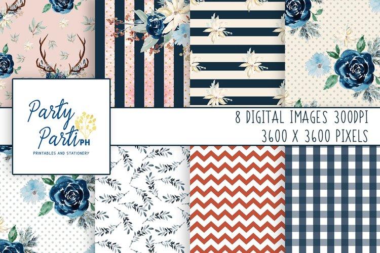 Blue Florals Digital Paper Scrapbooking Paper Background