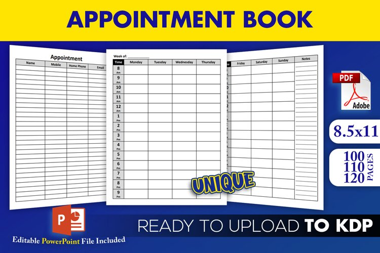 Appointment Book Organizer KDP Interior Ready to Upload example image 1