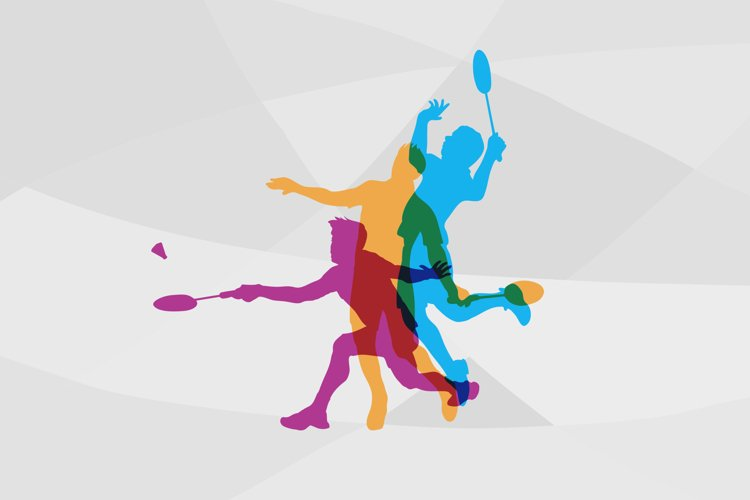 Modern Badminton Players In Action Logo.