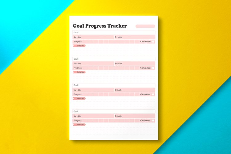 Goal Progress Tracker Pink