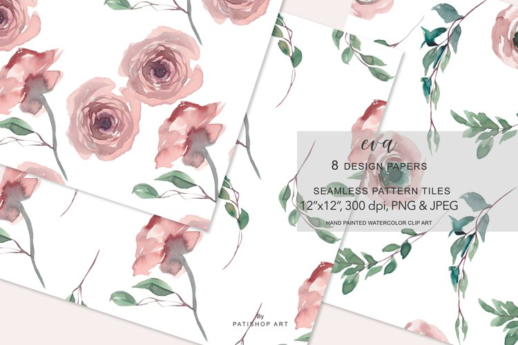 Watercolor Floral Digital Design Paper Pack Seamless Pattern example image 1