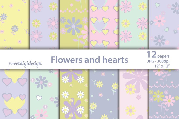 Pastel purple flowers and hearts scrapbook paper example image 1