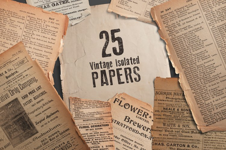 25 Vintage Isolated Papers example image 1