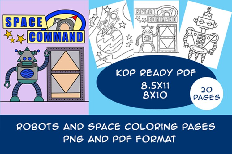 20 Robot Coloring Pages for Kids Printable PDF and PNG files
