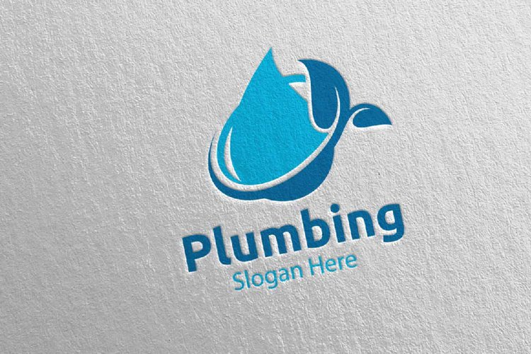 Eco Plumbing Logo with Water and Fix Home Concept 48 example image 1