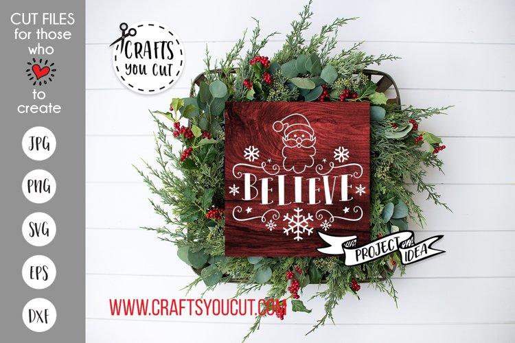 Believe Santa Christmas Cut File example image 1