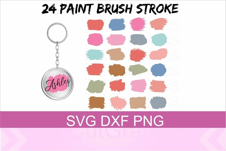 24 Paint Brush Stroke SVG PNG DXF Files