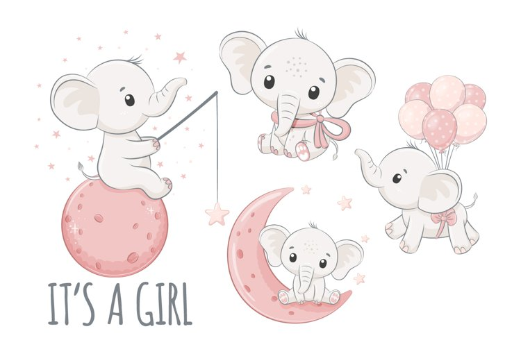 Baby shower clipart, PNG, EPS, JPG, Cute elephants