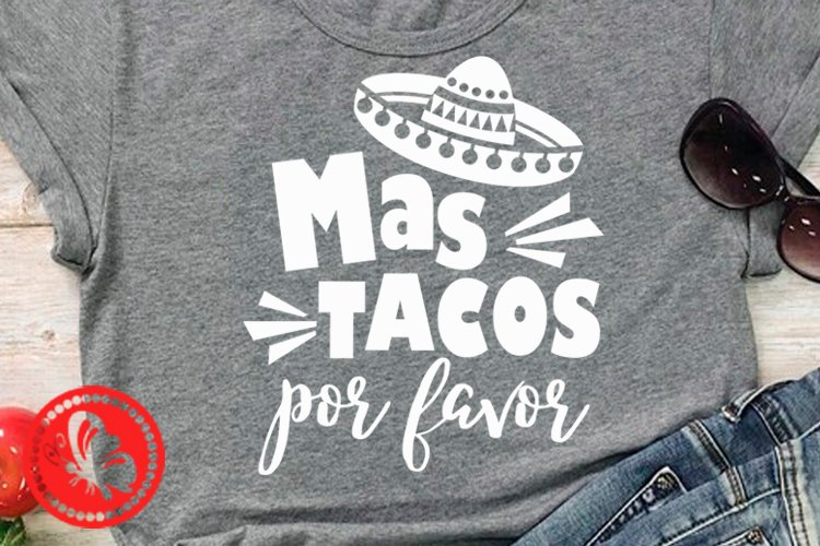 Cinco de mayo shirt Mas tacos por favor Mexican Sombrero art example image 1