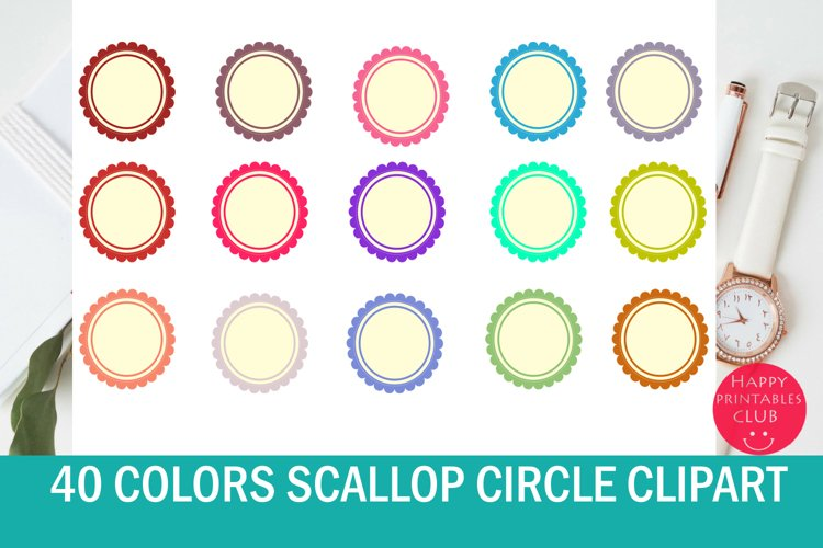 40 Scallop Circle Clipart example image 1