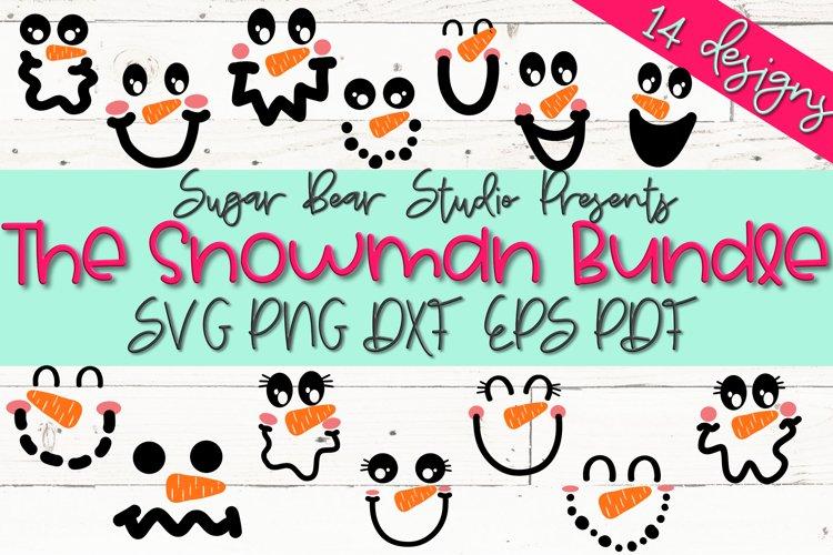 The Snowman Bundle - A Bundle of 14 Snowmen Faces SVGs
