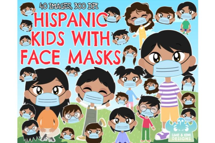 Hispanic Kids with Face Masks Clipart - Lime and Kiwi Design
