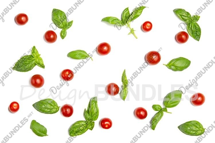Cherry tomatoes, basil leaves on a white isolated background example image 1
