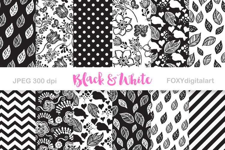 Digital paper black and white scrapbook floral background example image 1