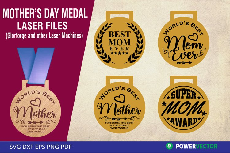 Mother's Day Awards  Medal Laser Files, Svg Dxf Eps example image 1