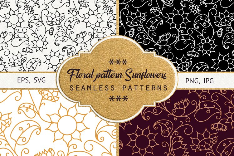 Floral pattern. Sunflowers example image 1