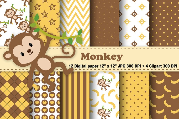 Monkey Digital Paper, Animals Background, Banana Pattern. example image 1