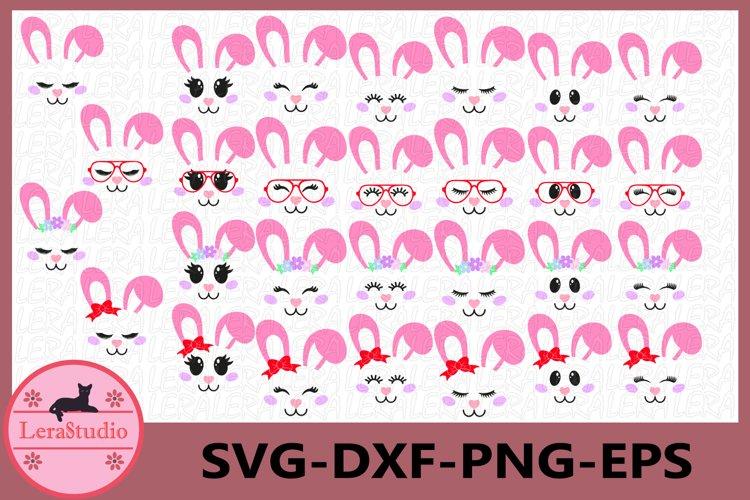 Bunny Face Clipart, Bunny Shirt, Bunny Cutie SVG, Girl Bunny example image 1