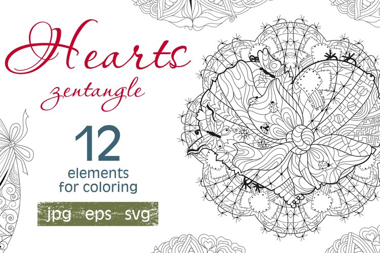 Hearts zentangle for coloring pages example image 1