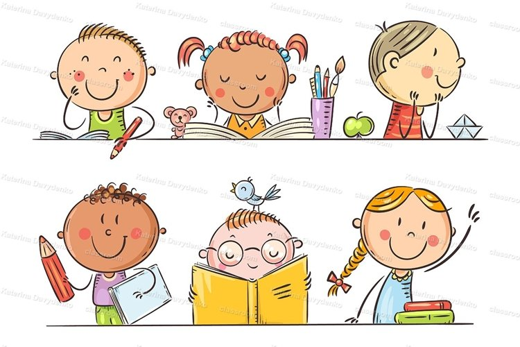 Cartoon kids in the classroom example image 1