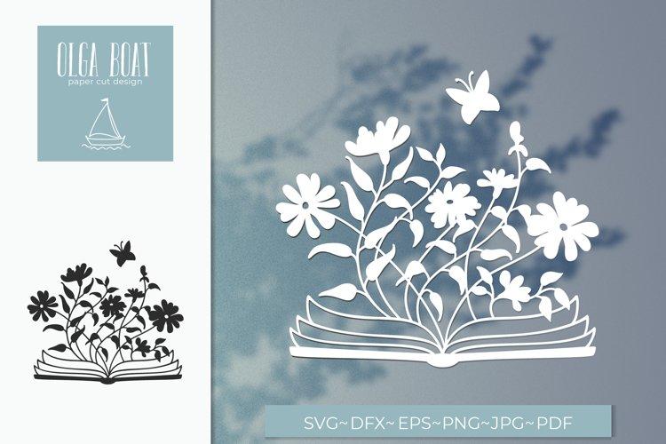 Open book svg. Book lover Paper cut design