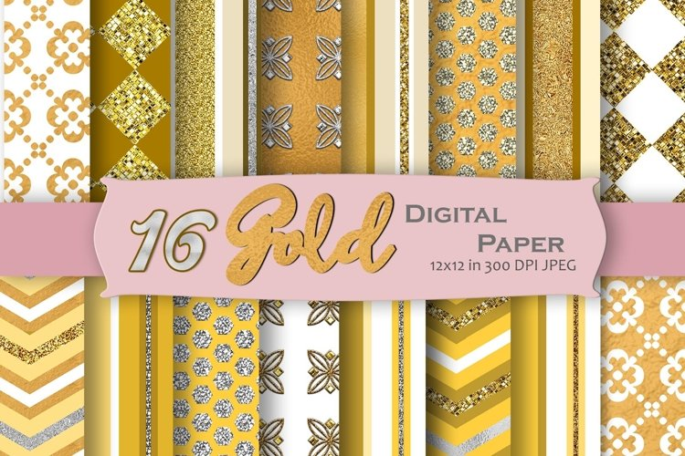 Gold Digital Paper Pack example image 1