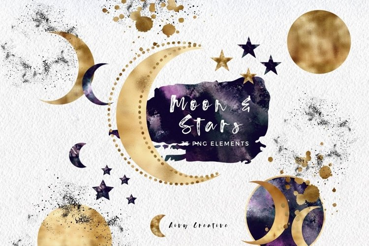 Stars and Moon Celestial Abstract Clipart Pack