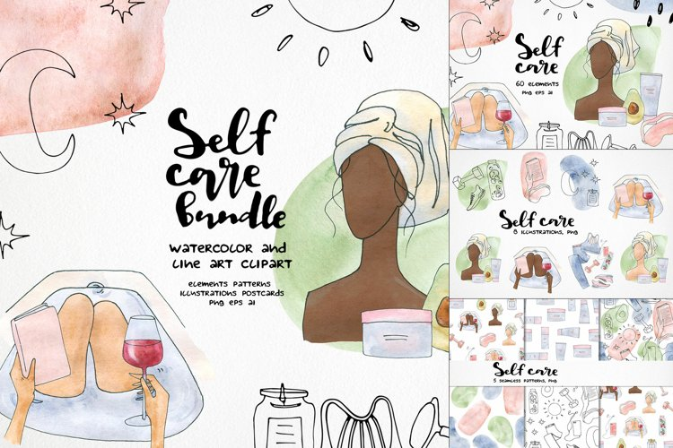 watercolor self care clipart printable art fashion bath