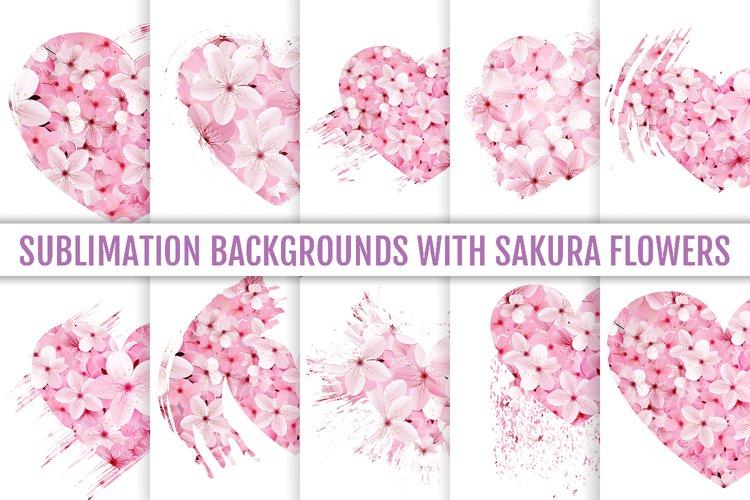 Sublimation backgrounds, sublimation flowers, sakura hearts