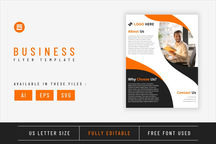 Business flyer template with amber geometry shapes design example image 1