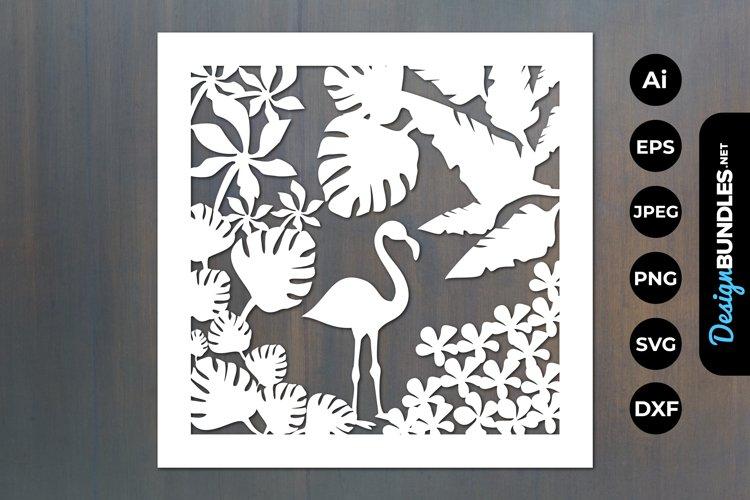 Tropical Floral Flamingo Papercut