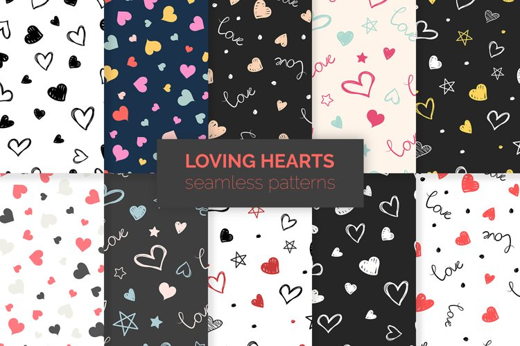 Loving Hearts Seamless Patterns example image 1