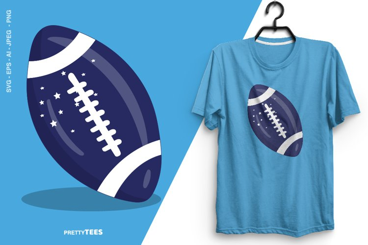 American Football Blue Ball T-Shirt Design | Sublimation example image 1