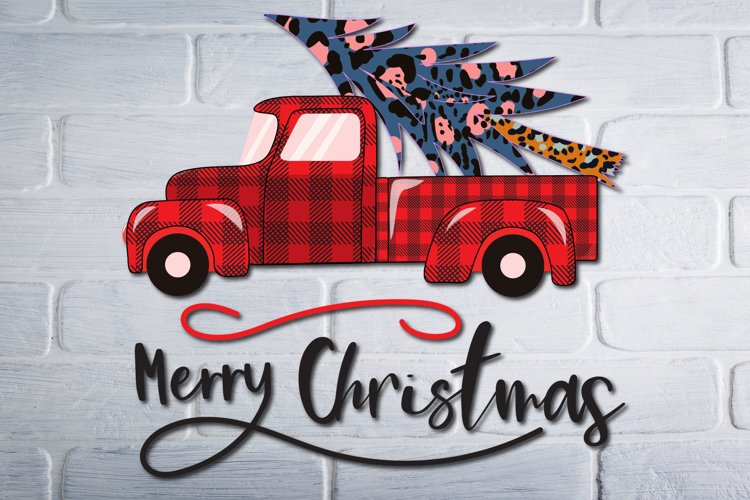 Christmas Red Truck with tree