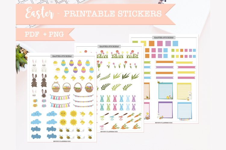 Printable easter sticker sheets for planner PDF and PNG