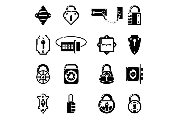 Lock door types icons set, simple style example image 1