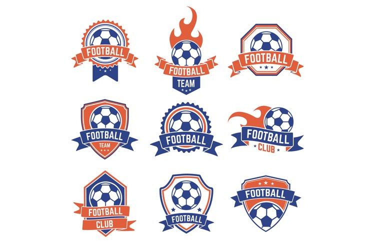 Soccer club emblem. Football badge shield logo, soccer ball example image 1