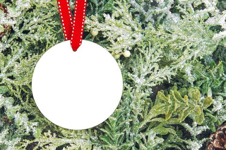 Round Christmas Ornament mock up Christmas decoration example image 1